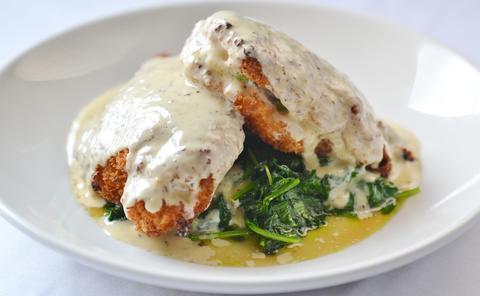 Crispy stuffed chicken atMattone Restaurant + Bar,9 E 31st St, La Grange Park, IL 60526.