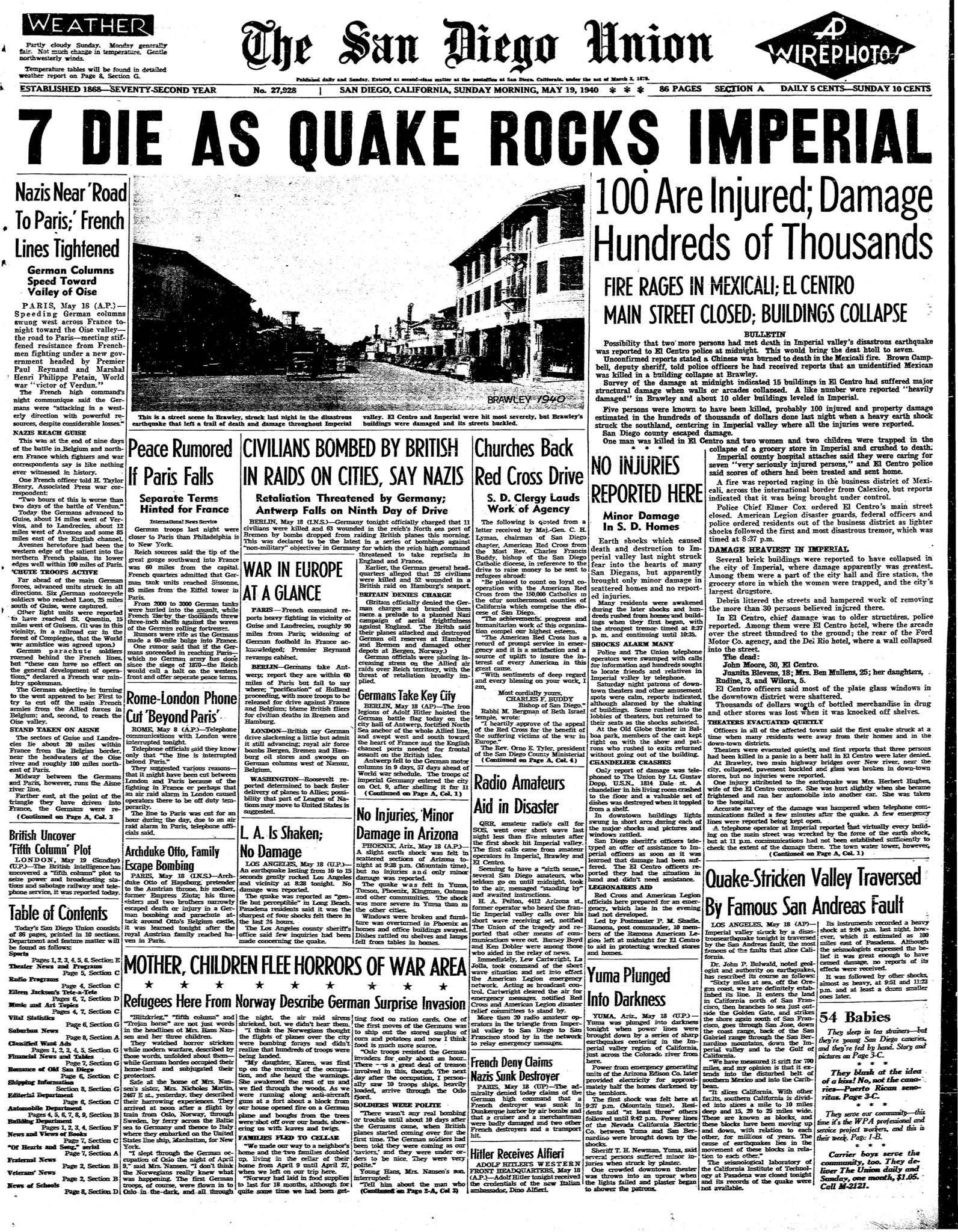May 19 1940 Quake rocks Imperial The San Diego Union Tribune