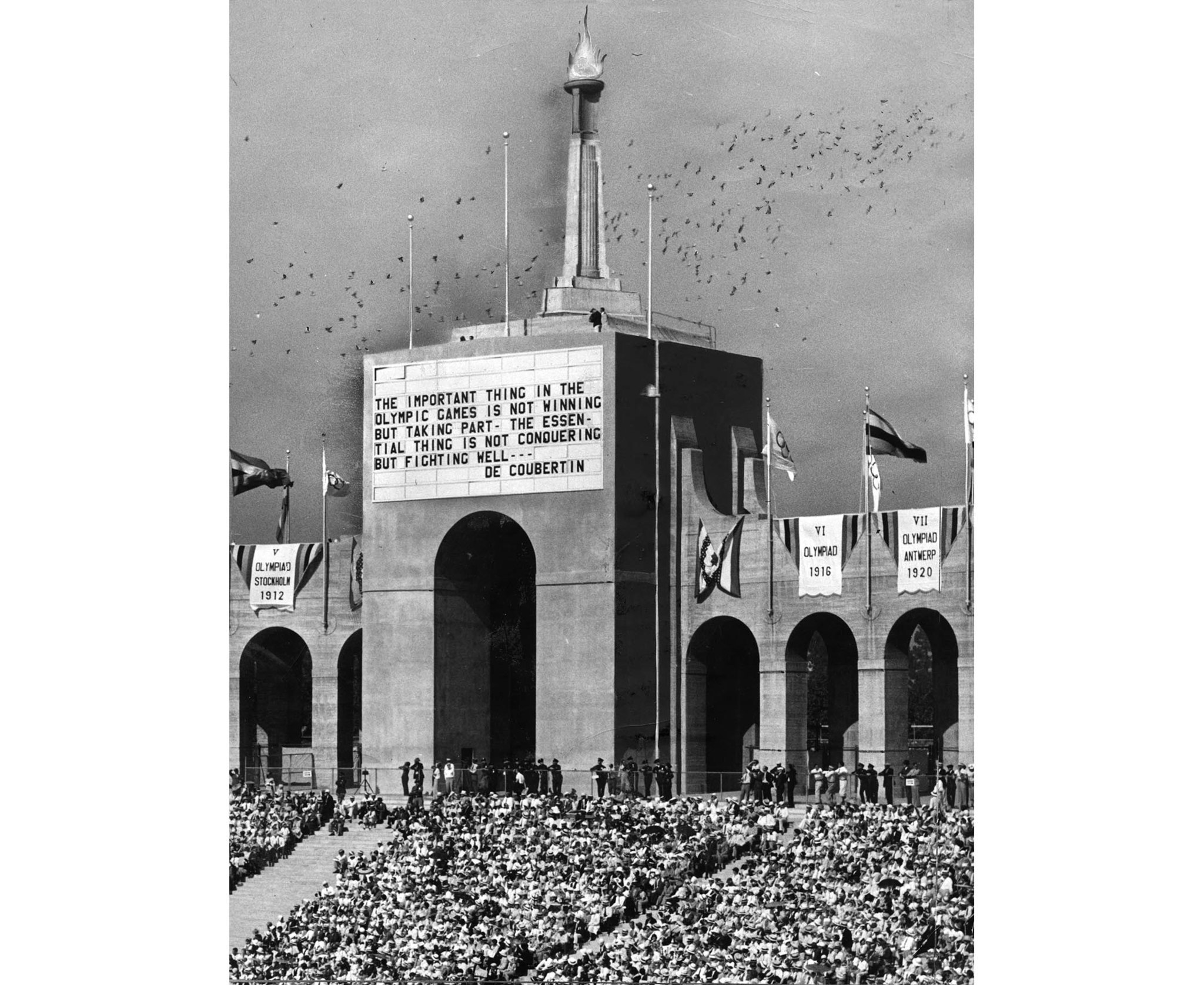 July 30, 1932: Opening ceremonies of the 1932 Olympics at the Los Angeles Memorial Coliseum.
