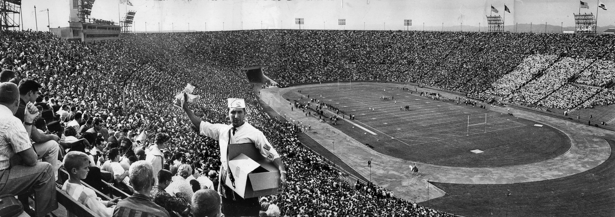 Nov. 24, 1962: Crowd of 86,740 attend UCLA-USC football game at the Los Angeles Memorial Coliseum. U
