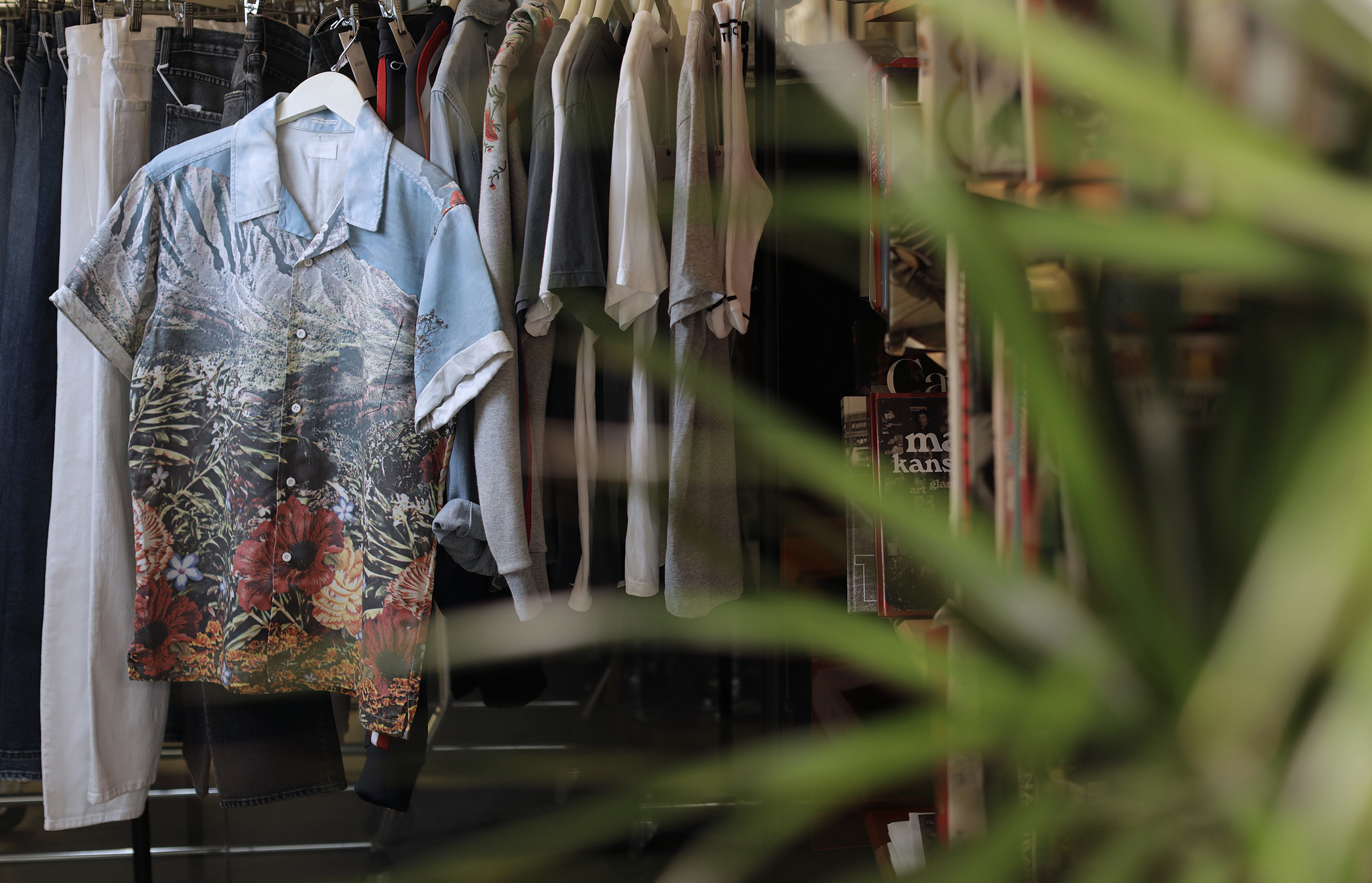 Mother's short-sleeve Hooky shirt ($278) has a vivid landscape print.