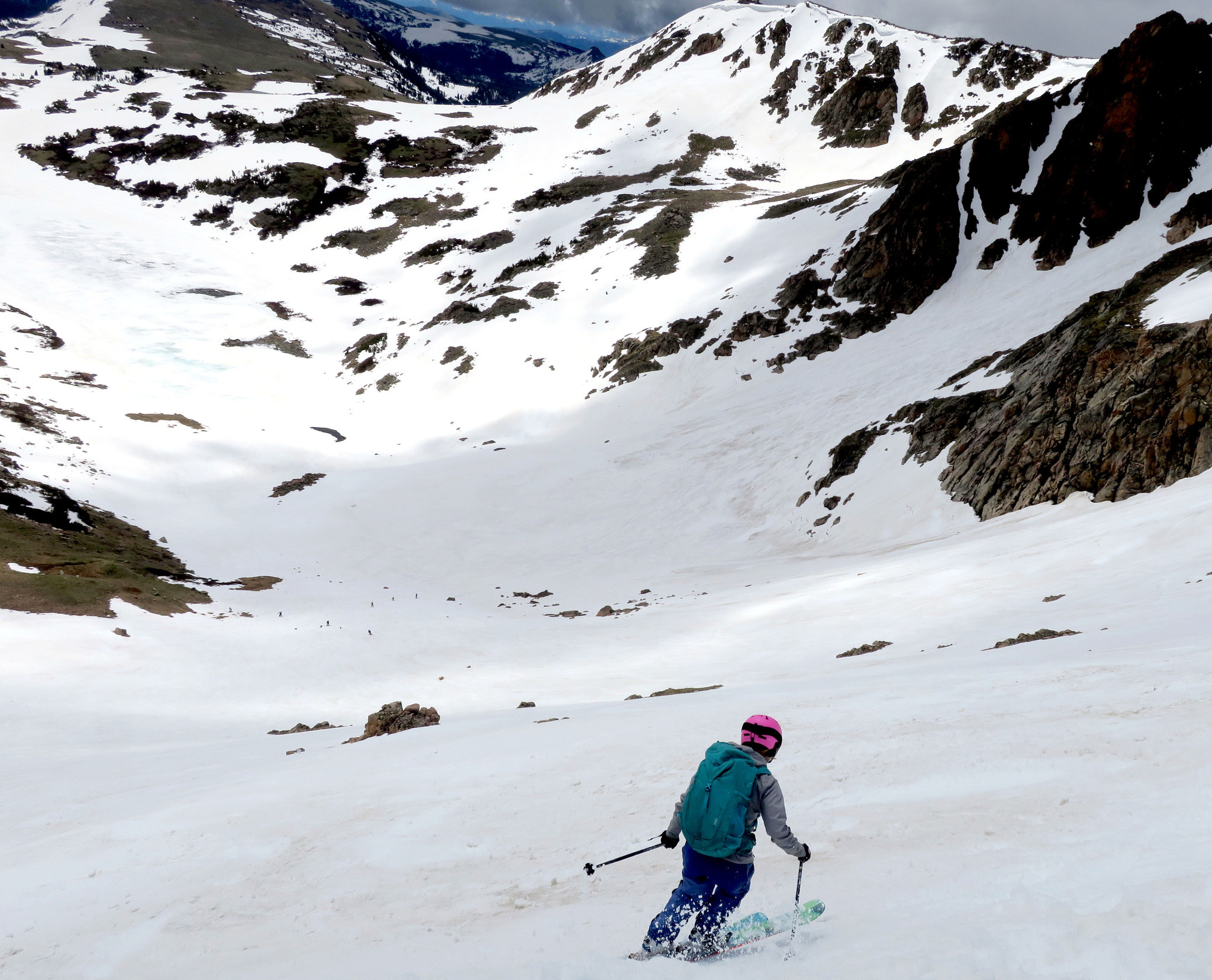 A skier drops in on the Gardner Headwall along the Beartooth Highway.