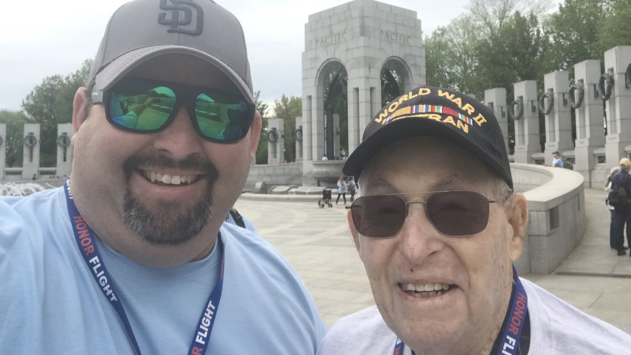 David Walter shares a special moment with his grandfather, Bill Howells, at the World War II Memorial during an Honor Flight Network trip to Washington, D.C.