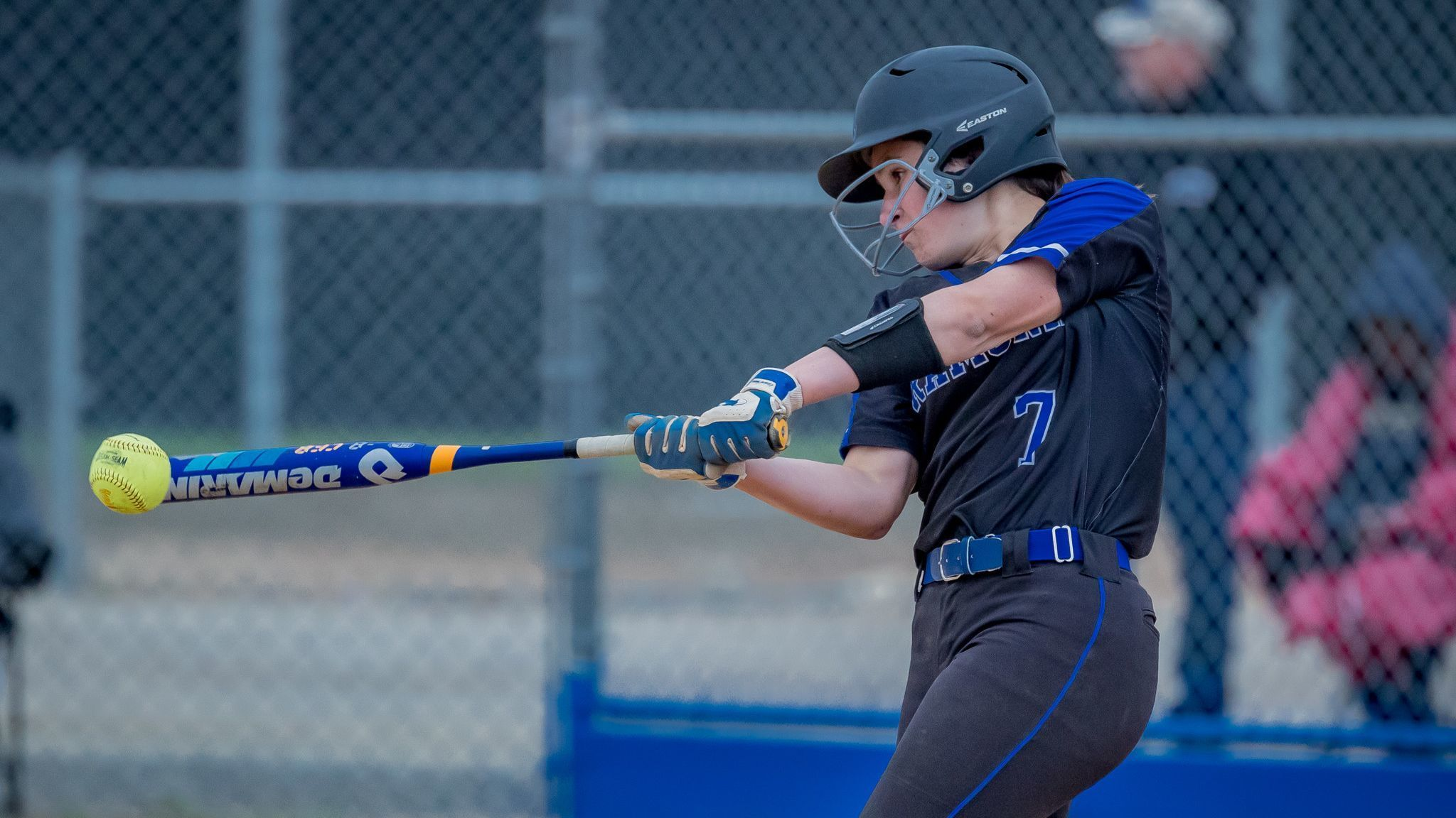 Sophomore Elle Roberts smacks the ball during Ramona's 16-6 win over Fallbrook on Friday.