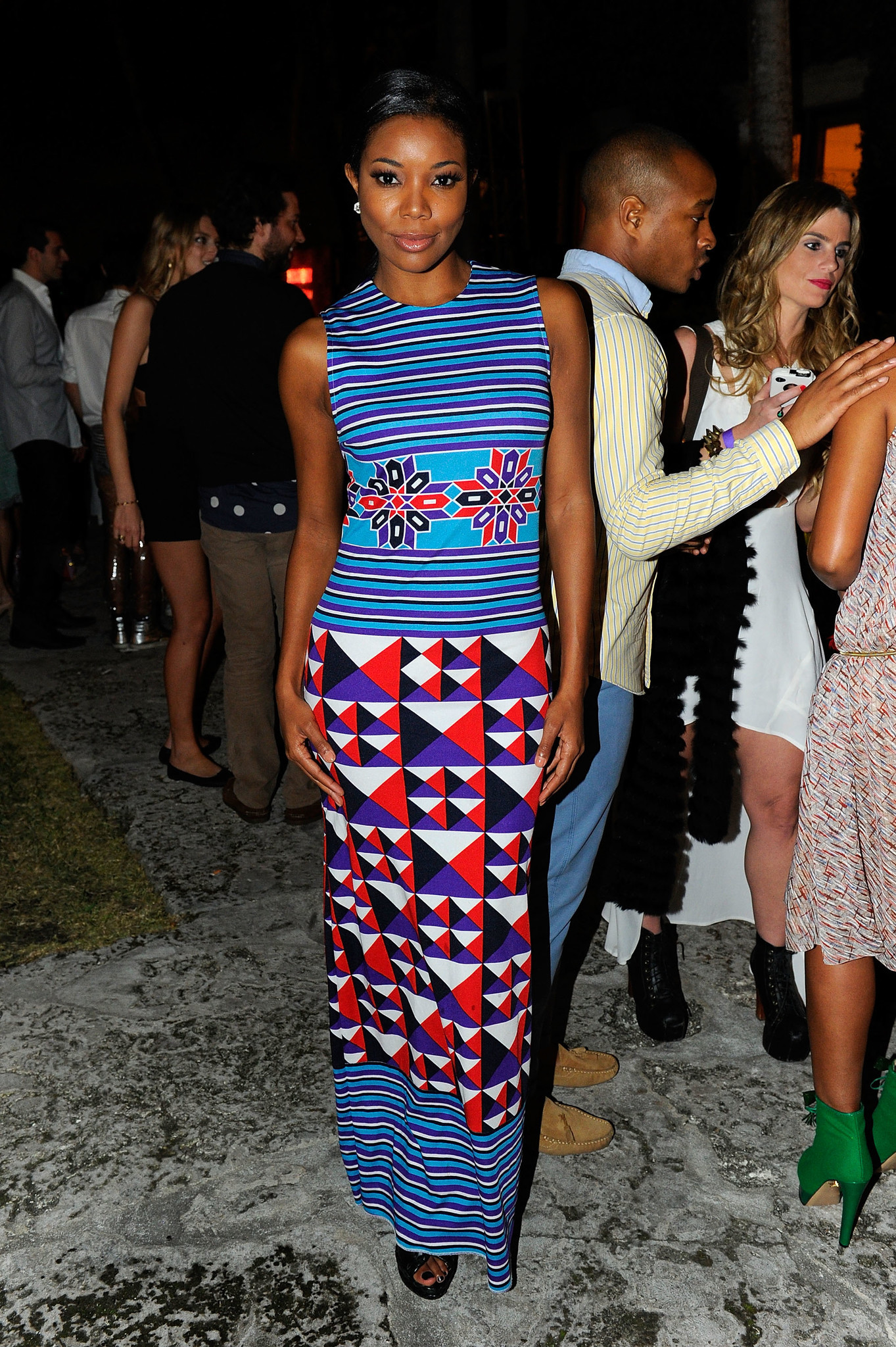 Styled by Jason Bolden, actress Gabrielle Union in a Lanvin dress attends Evenings in Vogue with Angela Missoni and Vittorio Missoni presented by Nordstrom at Casa de Suenos.