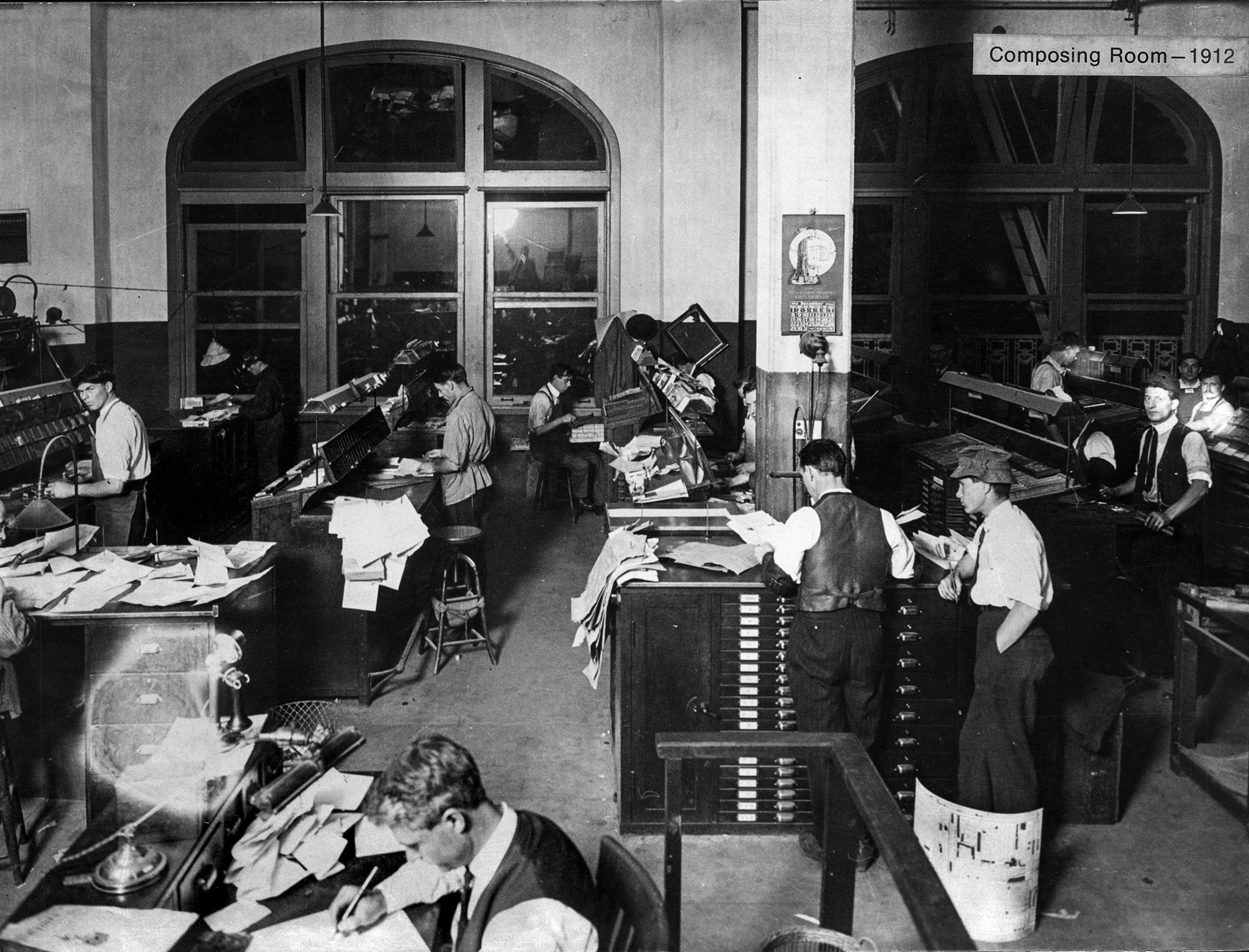 1912: Los Angeles Times Composing Room located on fourth floor of new building dedicated on Dec. 4,