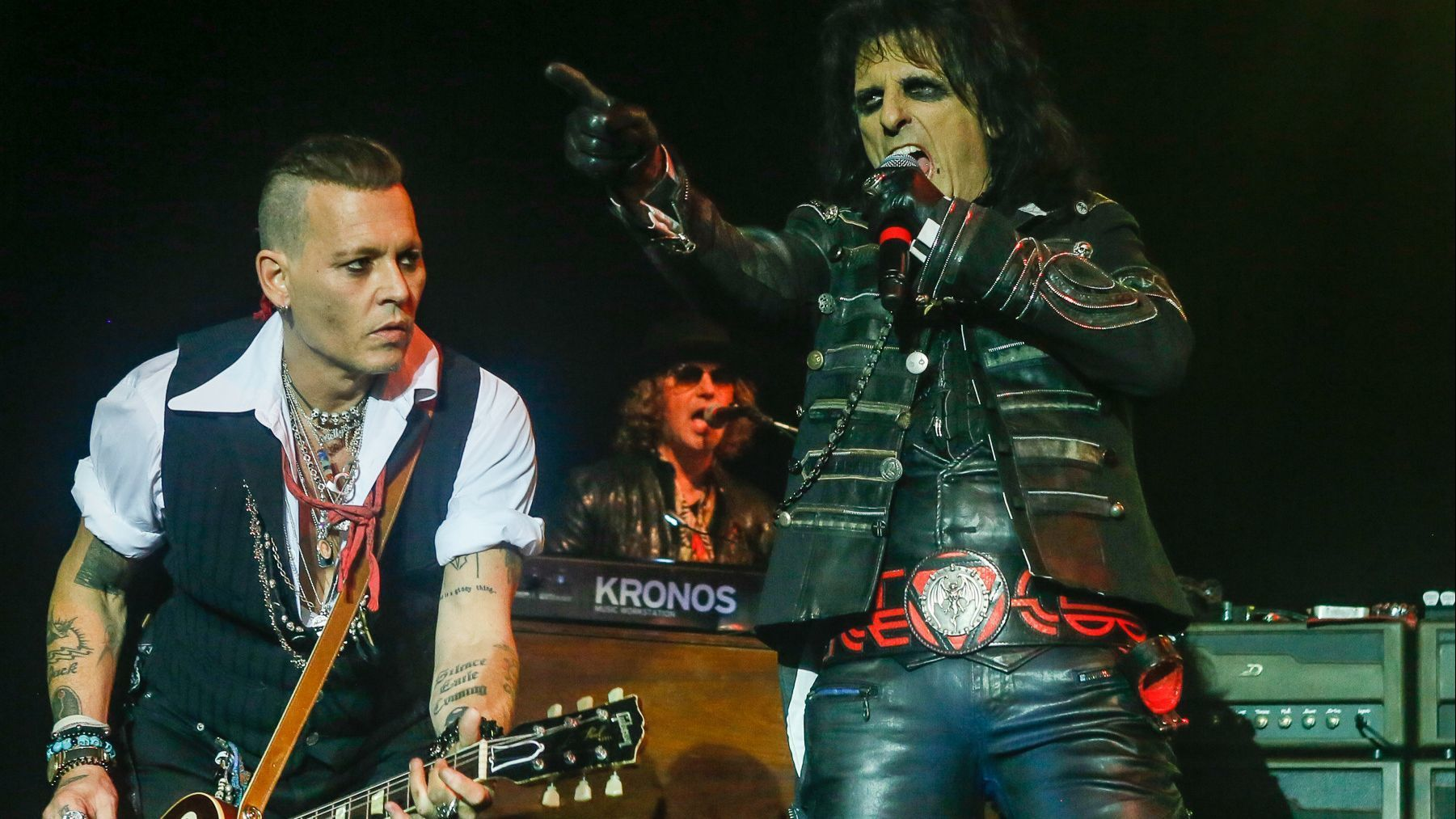 Hollywood Vampires, with Johnny Depp, left, and Alice Cooper at Sands Bethlehem Event Center on Monday.