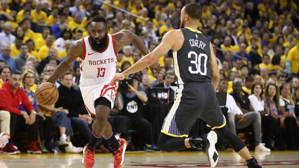 James Harden scores 30, Rockets even series with Warriors