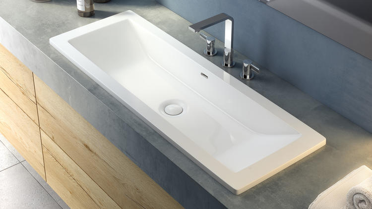Victoria + Albert's versatile Rossendale trough sink can be installed like a wading pool top-mount