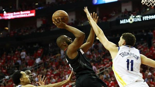Chris Paul goes down at the end, but the Rockets pull away and put Warriors on brink of elimination