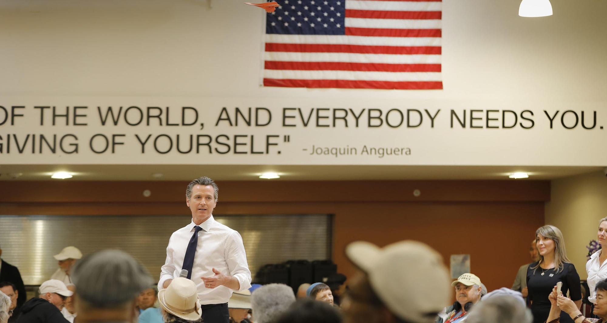 Gavin Newsom visits seniors in downtown