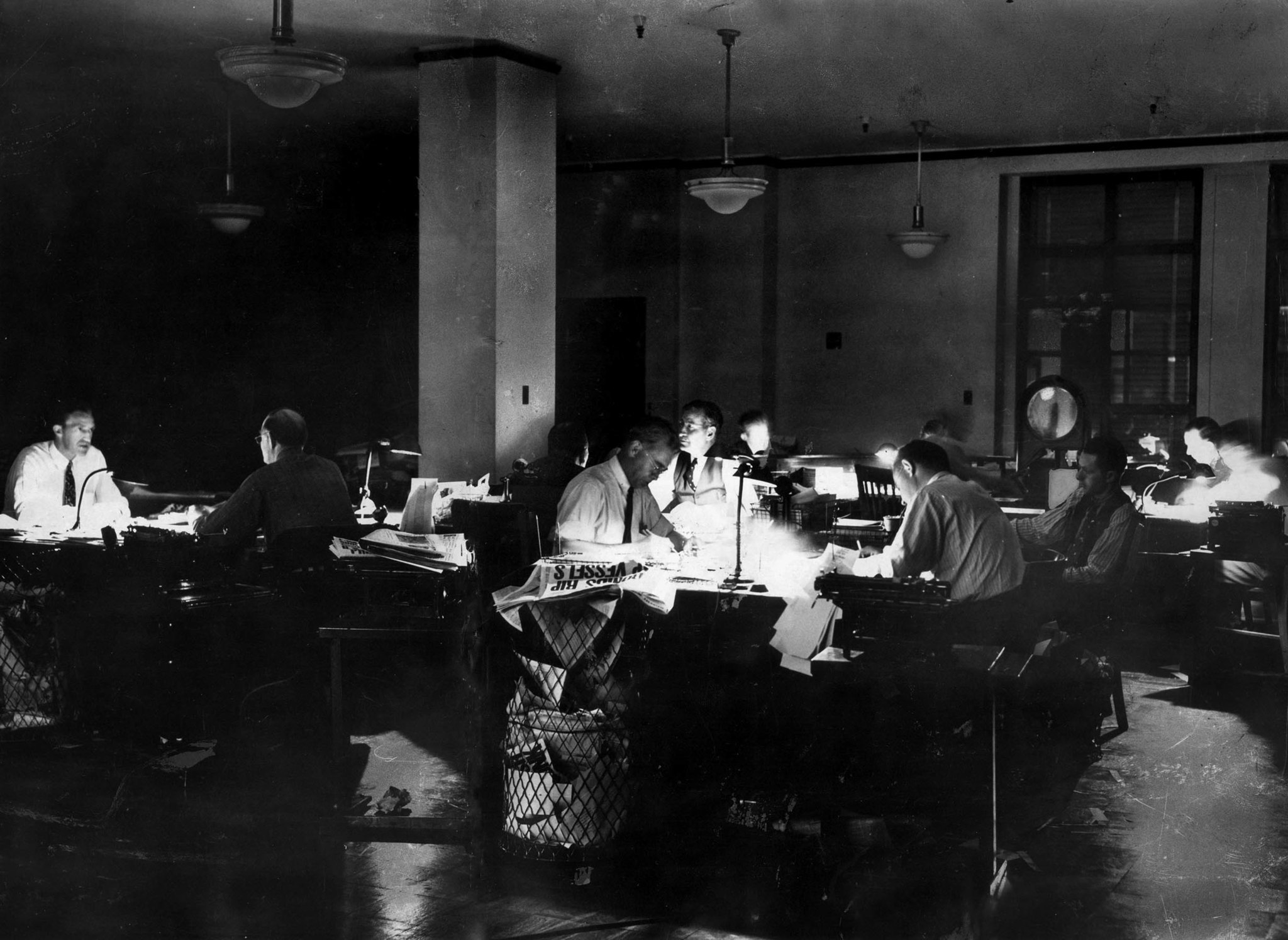Dec. 10, 1941: During the first World War II blackout in Los Angeles, editors in the Times city room