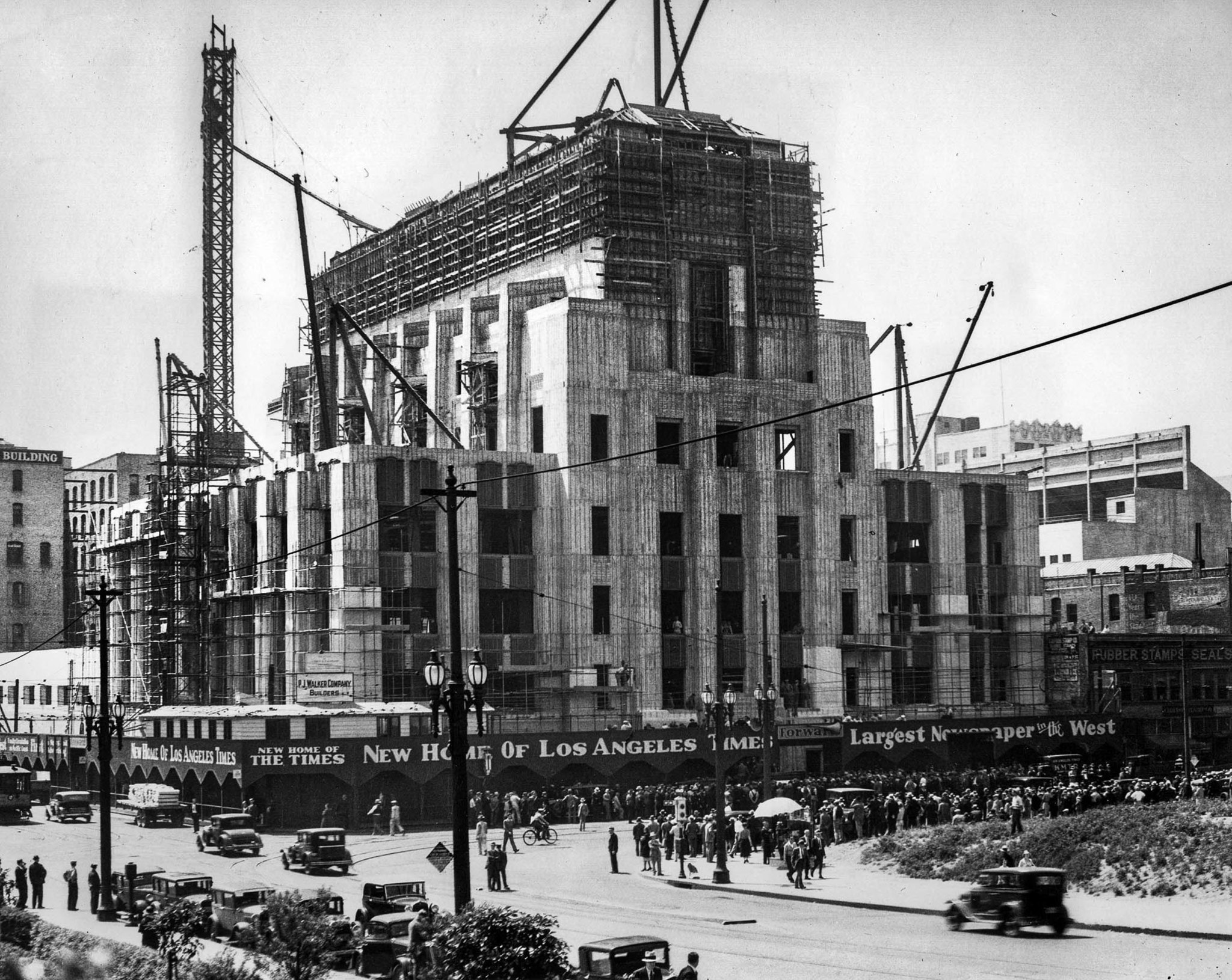 April 10, 1934: The Los Angeles Times Building at First and Spring street during cornerstone ceremon