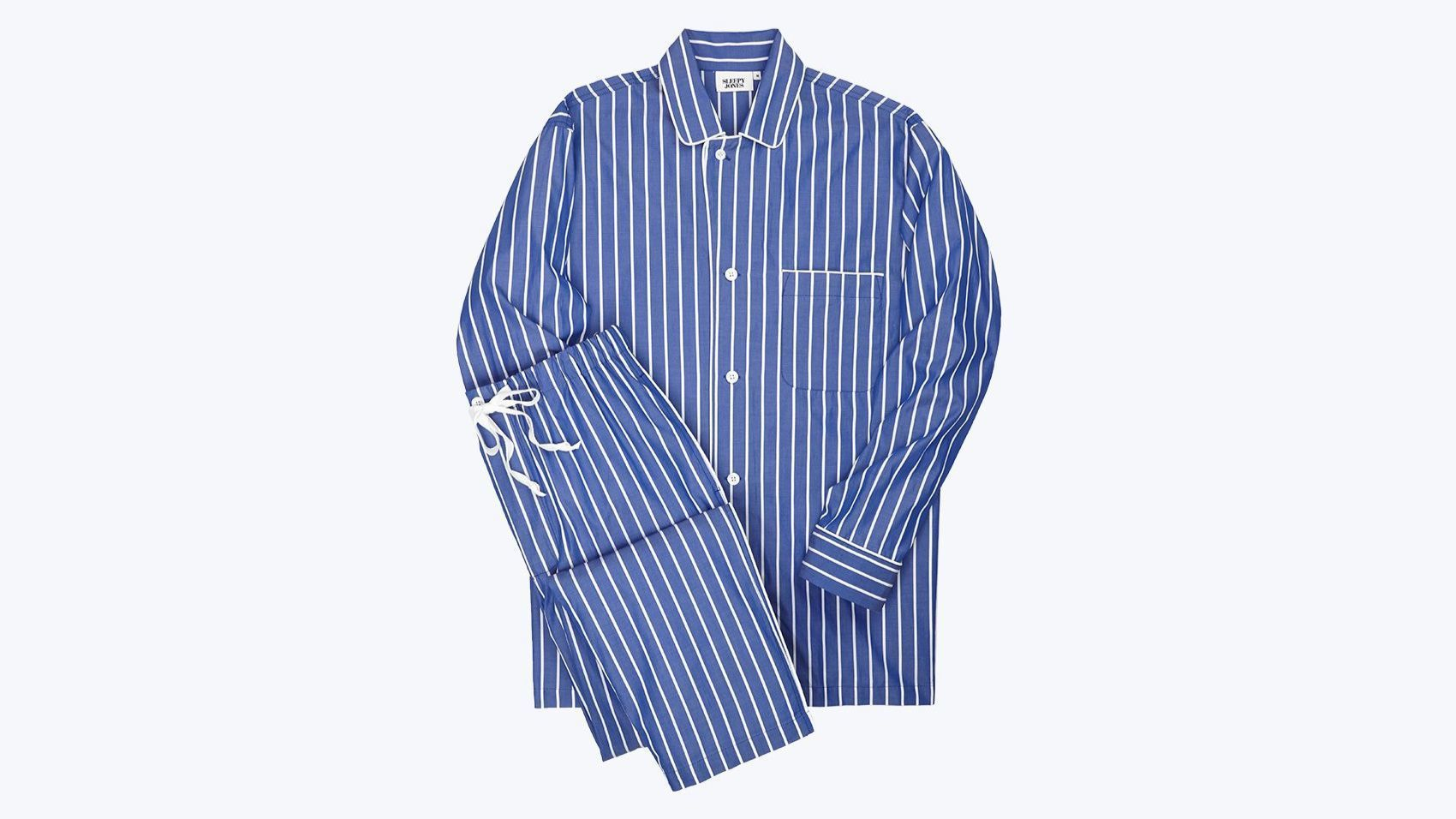 Lowell Pajama Set in blue-and-white stripes from Sleepy Jones.