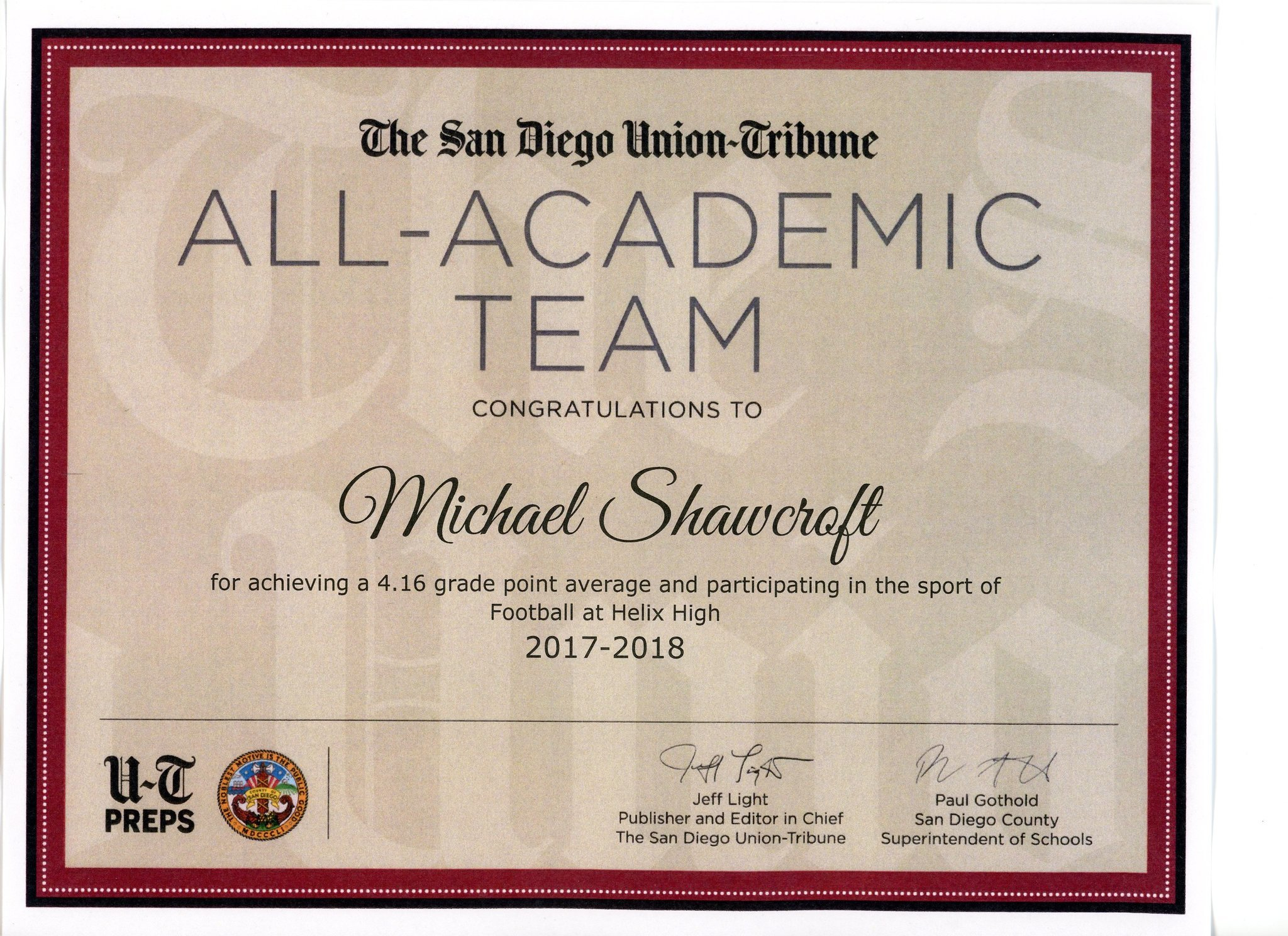 All-Academic Team certificate 2017-18