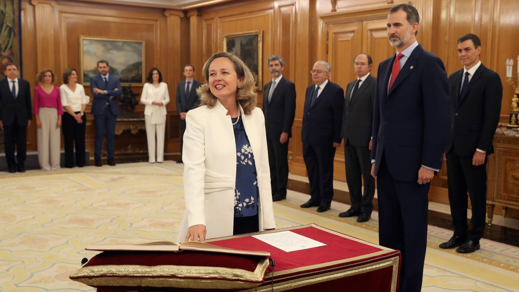 In Spain's new 17-member Cabinet under Prime Minister Pedro Sanchez, 11 ministers are women