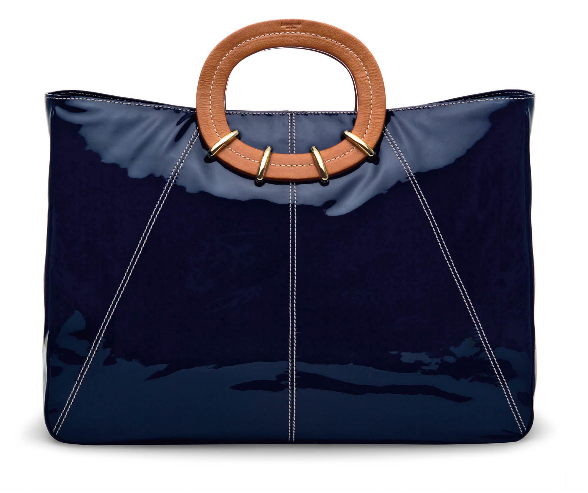Blue patent bag