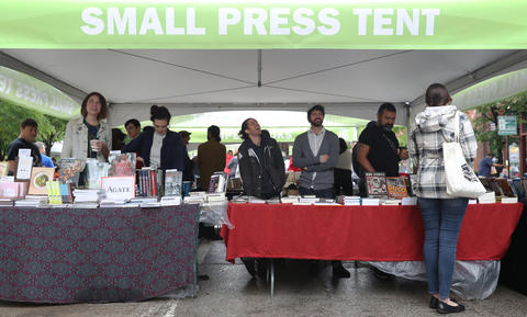 Vendors wait for customers at the Printers Row Lit Fest on South Dearborn Street on June 9, 2018, in Chicago.