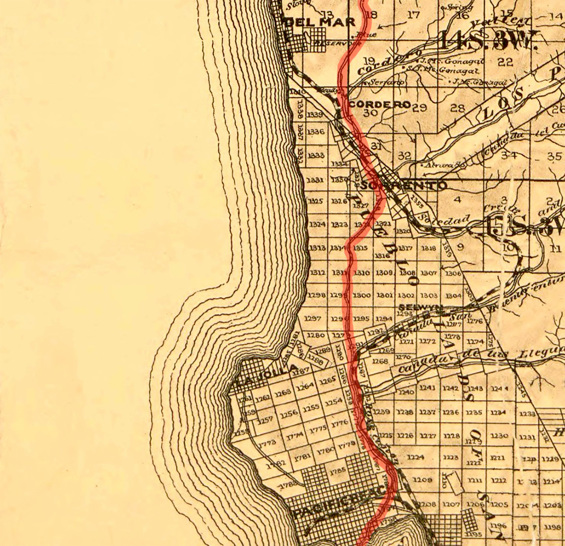 This official survey map of San Diego County was drawn in 1889 by T.D. Beasley, with the old stagecoach road highlighted in red by La Jolla Light graphic designer Daniel Lew.