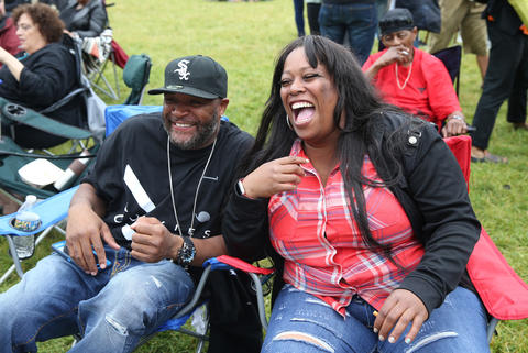 Charles and Zenobria Scott, both of Chicago, enjoy the Chicago Blues Festival at the Jay Pritzker Pavilion in Chicago on June 10, 2018.