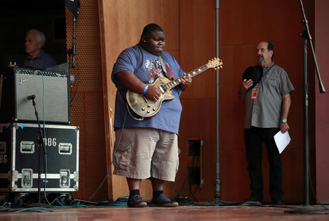 "Cristone ""Kingfish"" Ingram performs the National Anthem at the Chicago Blues Festival at the Jay Pritzker Pavilion in Chicago on June 10, 2018."