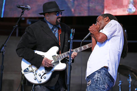 Wayne Baker Brooks, left, and Kenny Neal perform at the Chicago Blues Festival at the Jay Pritzker Pavilion in Chicago on June 10, 2018.