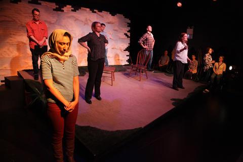Peter Surma,Rob Frankel,Dana Anderson,Liz Cloud,Chelsea TurnerandSara Pavlak McGuireinAstonRep Theatre Company'sproduction ofThe Laramie Projecton stage through July 8, 2018 at the Raven Theatre.