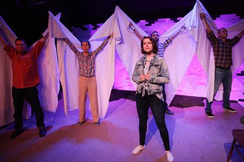 Alexandra Bennett,Liz CloudandRob FrankelinAstonRep Theatre Company'sproduction ofThe Laramie Projecton stage through July 8, 2018 at the Raven Theatre.