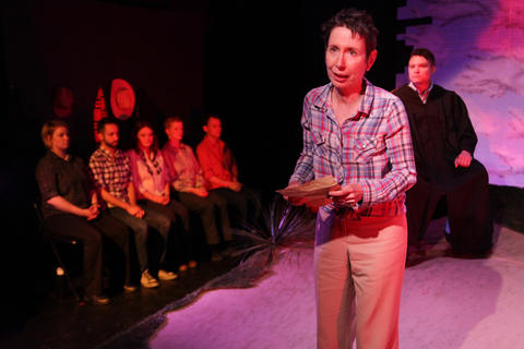 The ensemble ofAstonRep Theatre Company'sproduction ofTHE LARAMIE PROJECT,The Laramie Projecton stage through July 8, 2018 at the Raven Theatre.