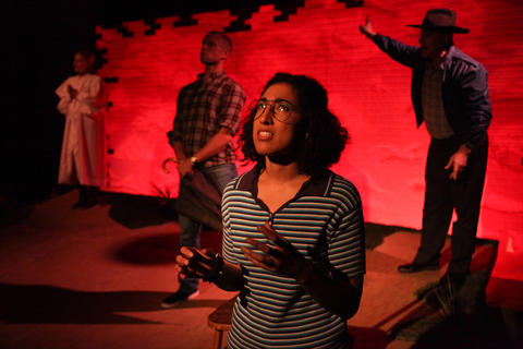 The ensemble ofAstonRep Theatre Company'sproduction ofThe Laramie Projecton stage through July 8, 2018 at the Raven Theatre.