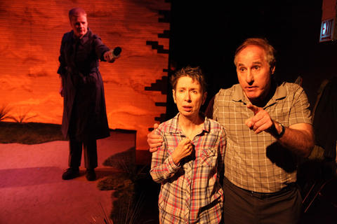 Dana Andersonwith (back, l to r)Ray Kasper,Matt Harris,Liz CloudandPeter SurmainAstonRep Theatre Company'sproduction ofThe Laramie Projecton stage through July 8, 2018 at the Raven Theatre.