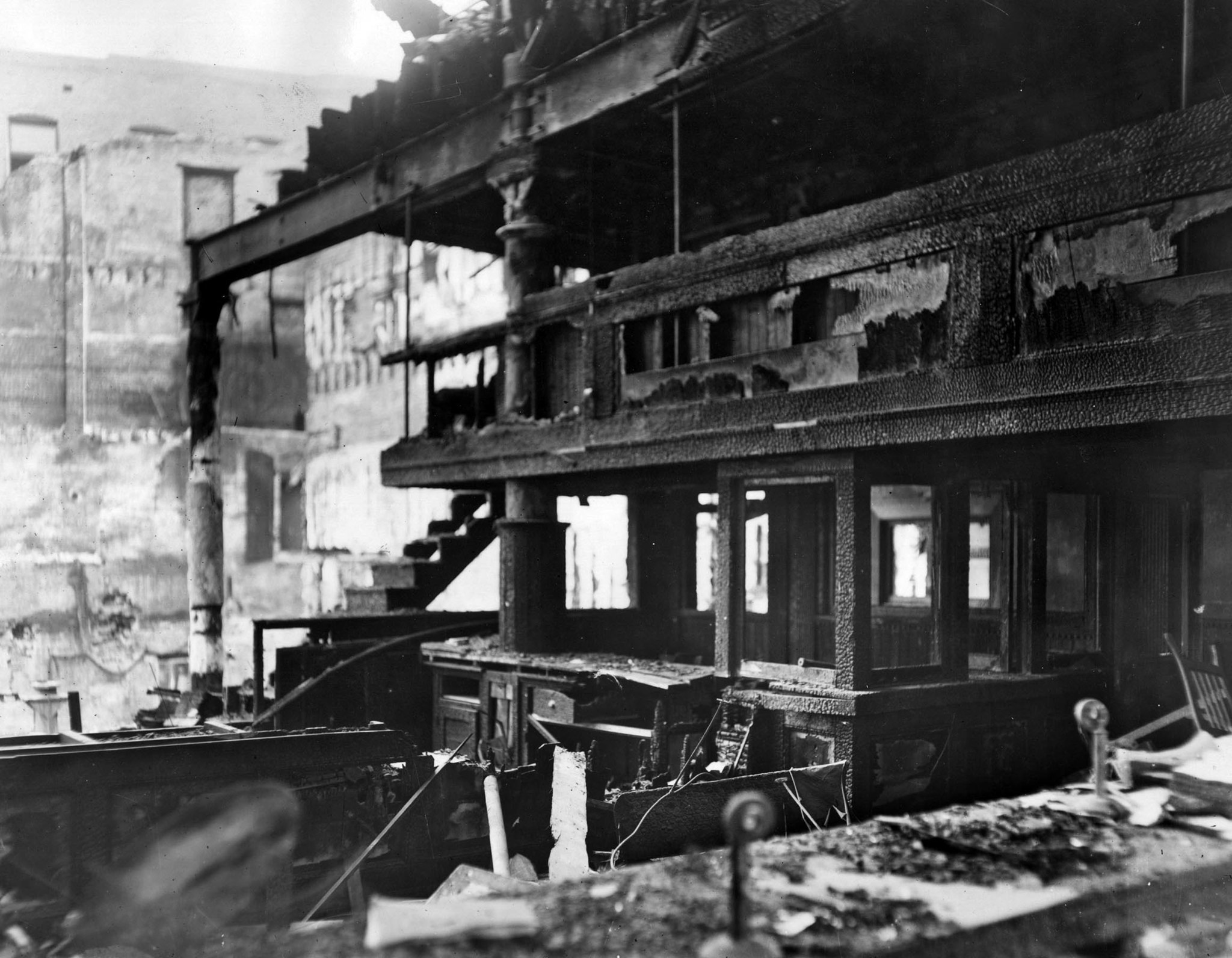 Oct. 1910: Another view of the burned out offices of the Los Angeles Times following the early morni