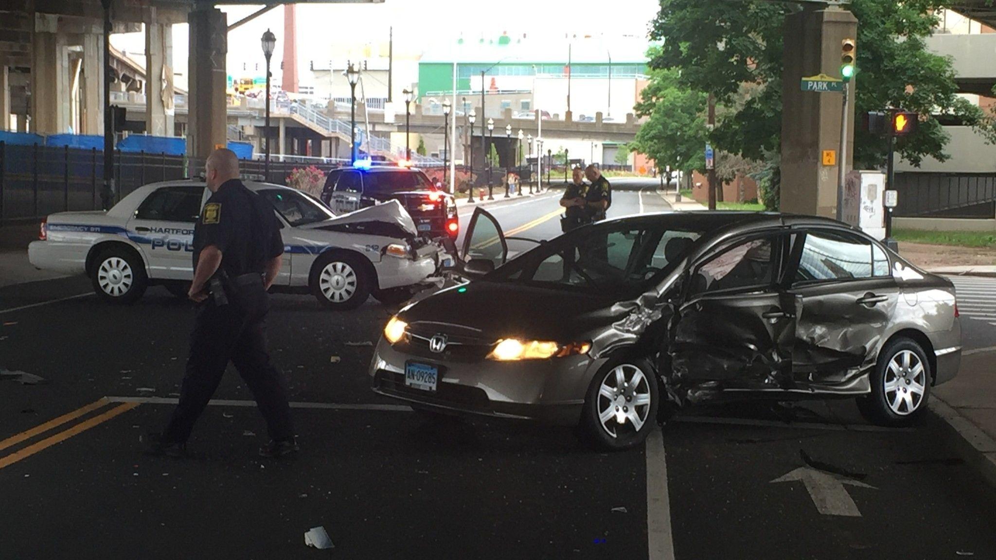 Crash Involving Hartford Police Car Closes Section Of Capitol Avenue Through Rush Hour | Hartford Courant