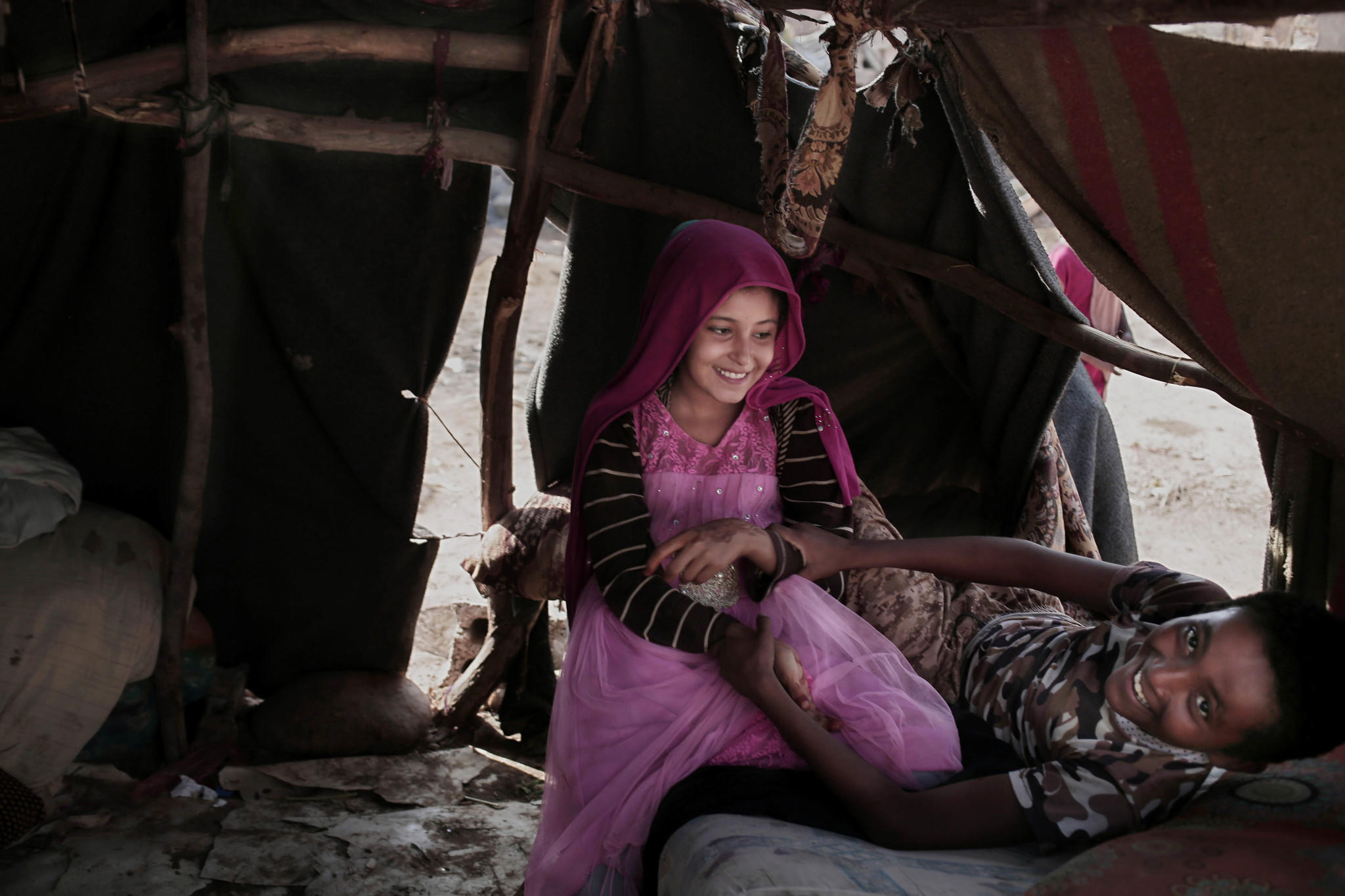 A Displaced Boy And Girl Play In His Shelter In Abyan Yemen Nariman El Mofty Associated Press