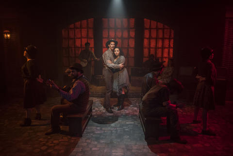 Erik Pearson and Bridget Adams-King with (l to r) Sarah Beth Tanner, T.J. Anderson, Mike Mazzocca, Kelan M. Smith, Josiah Robinson, Amanda Giles, Joey Harbert and Melanie Vitaterna in Haymarket, on stage through July 22, 2018.