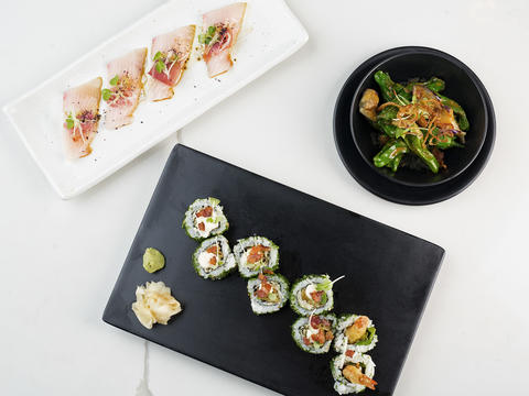 Sushi and other menu items offered at Tabo insideWells St. Market.