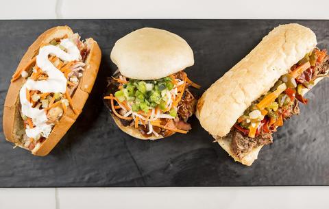 Pork & Mindy's menu offerings insideWells St. Market.