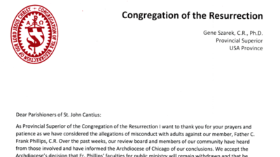 Letter distributed to parishioners on Rev. C. Frank Phillips
