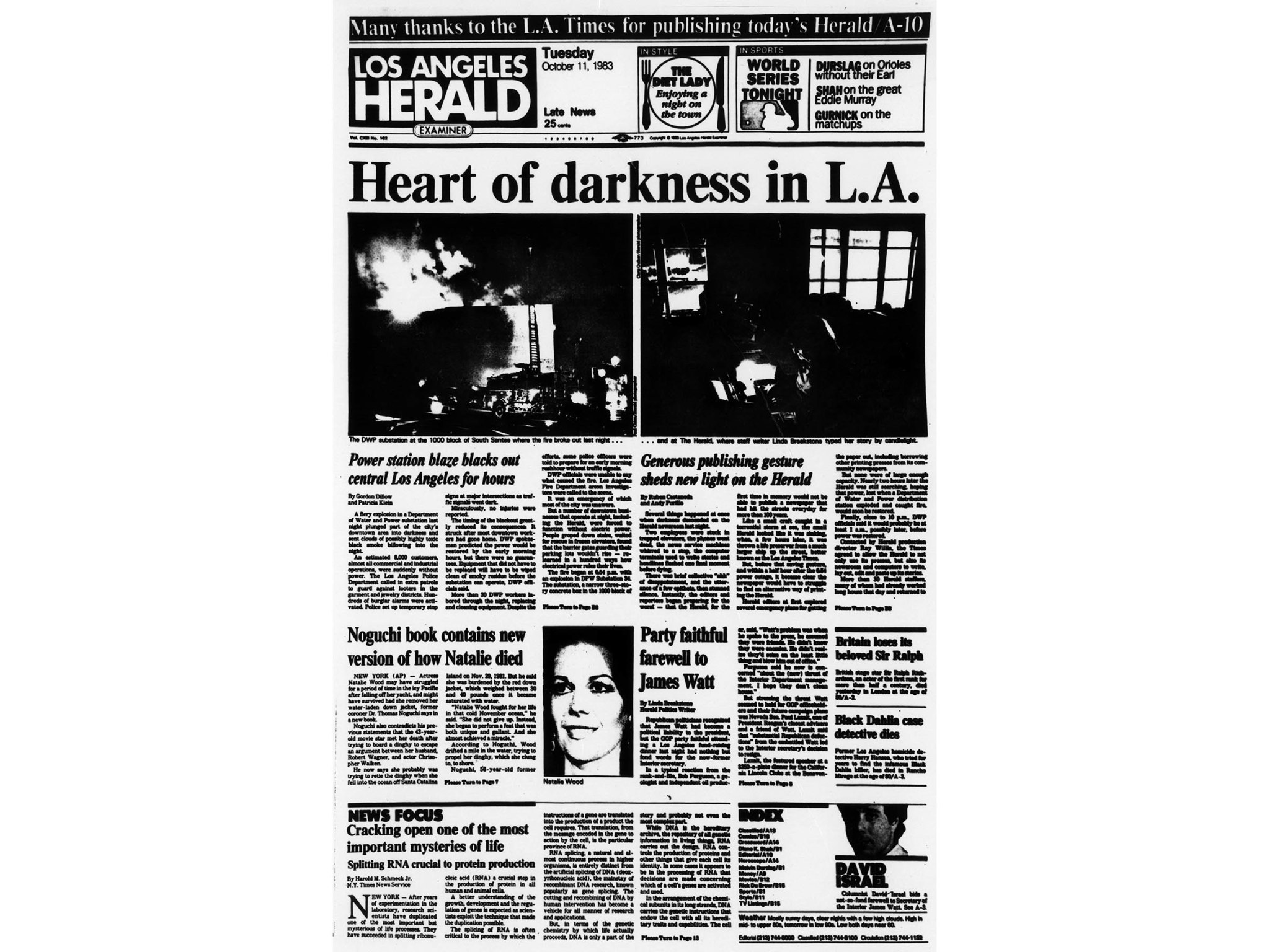 Oct. 11, 1983: Front page of the Oct. 11, 1983 Los Angeles Herald Examiner that was printed on the L