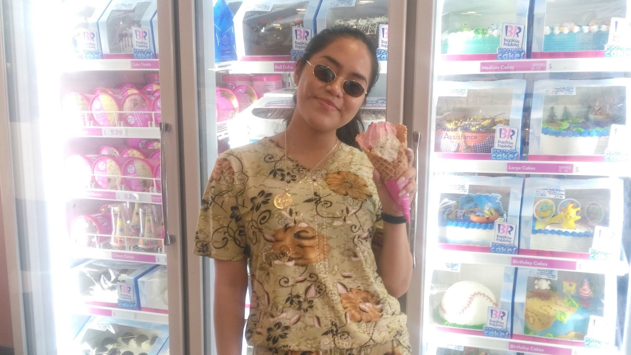 Leslye Vasquez, a Ramona resident and Grossmont College student, enjoys a cherry, mint chocolate chip and Oreo cake-flavored ice-cream at Baskin-Robbins.