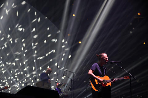 Radiohead performs at the United Center in Chicago on July 6, 2018.