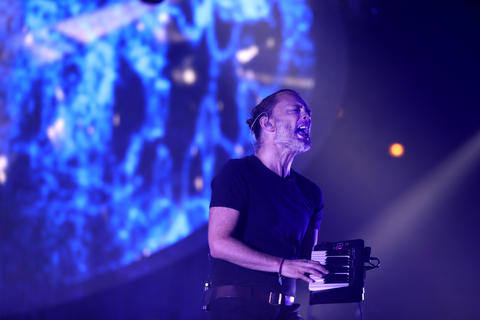Thom Yorke performs at the United Center in Chicago on July 6, 2018.