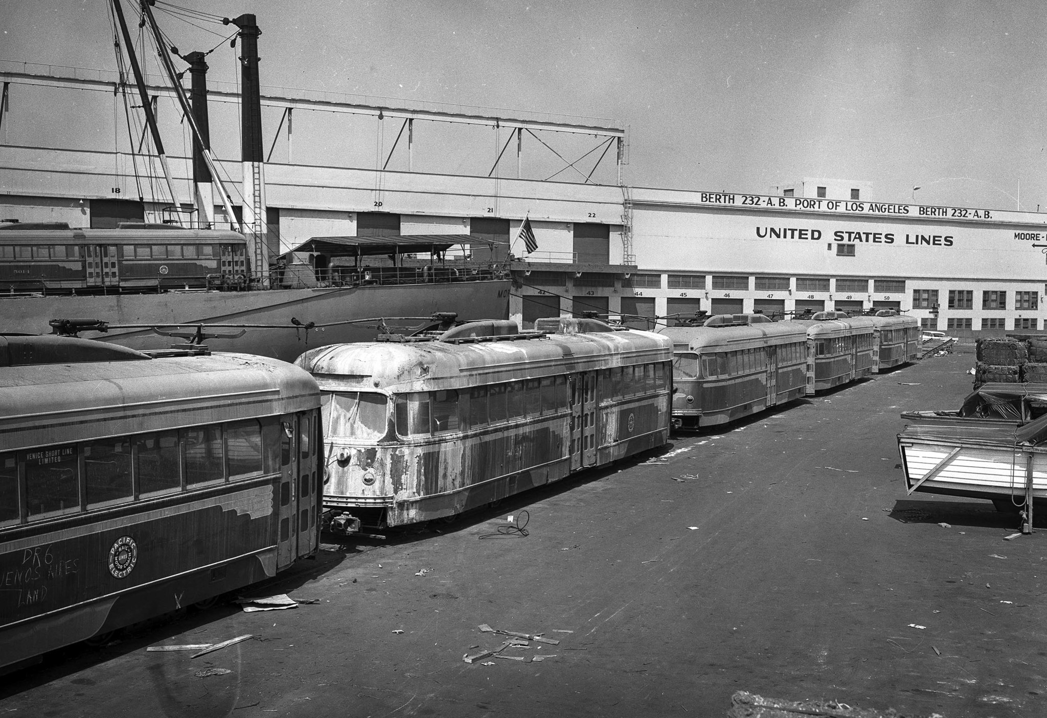 Sep. 6, 1959: Old Pacific Electric streetcars sit at Berth 232 on Terminal Island waiting to be load