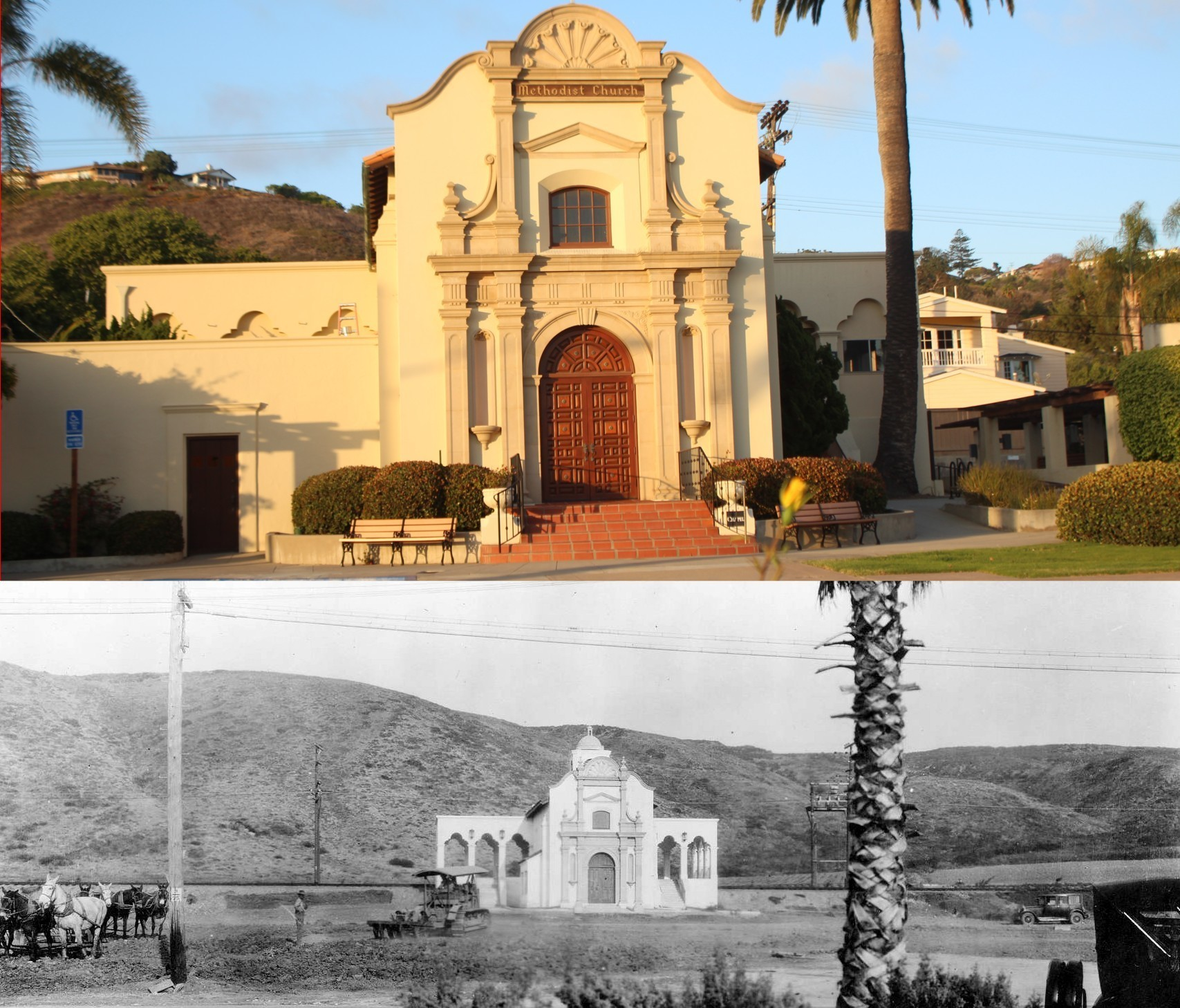 The La Jolla Methodist Church as it appears today (above) and below, not long after the building was constructed as the San Carlos Station for La Jolla's streetcar line.