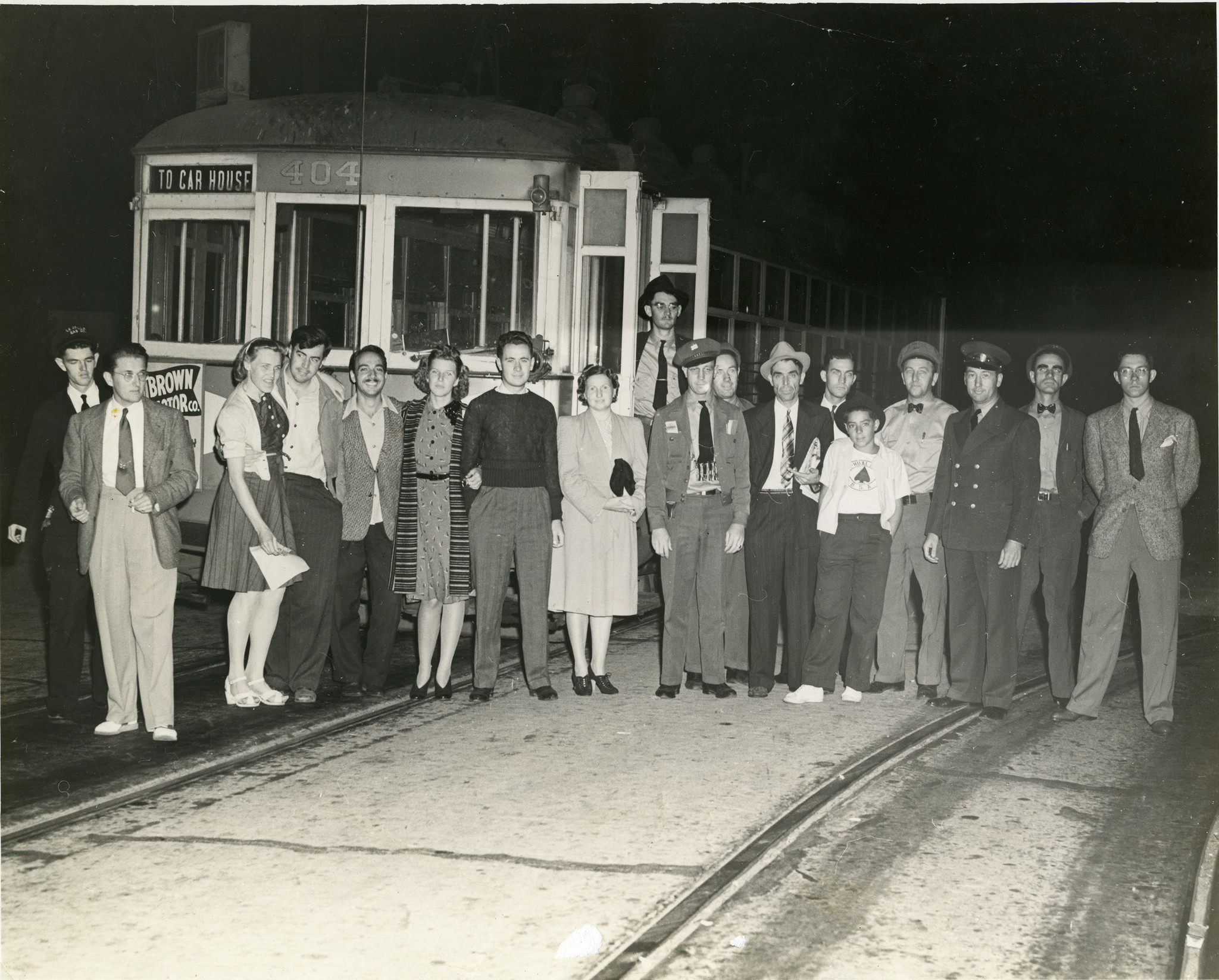 This photo was taken on September 16, 1940, to commemmorate the final ride of the La Jolla streetcar.