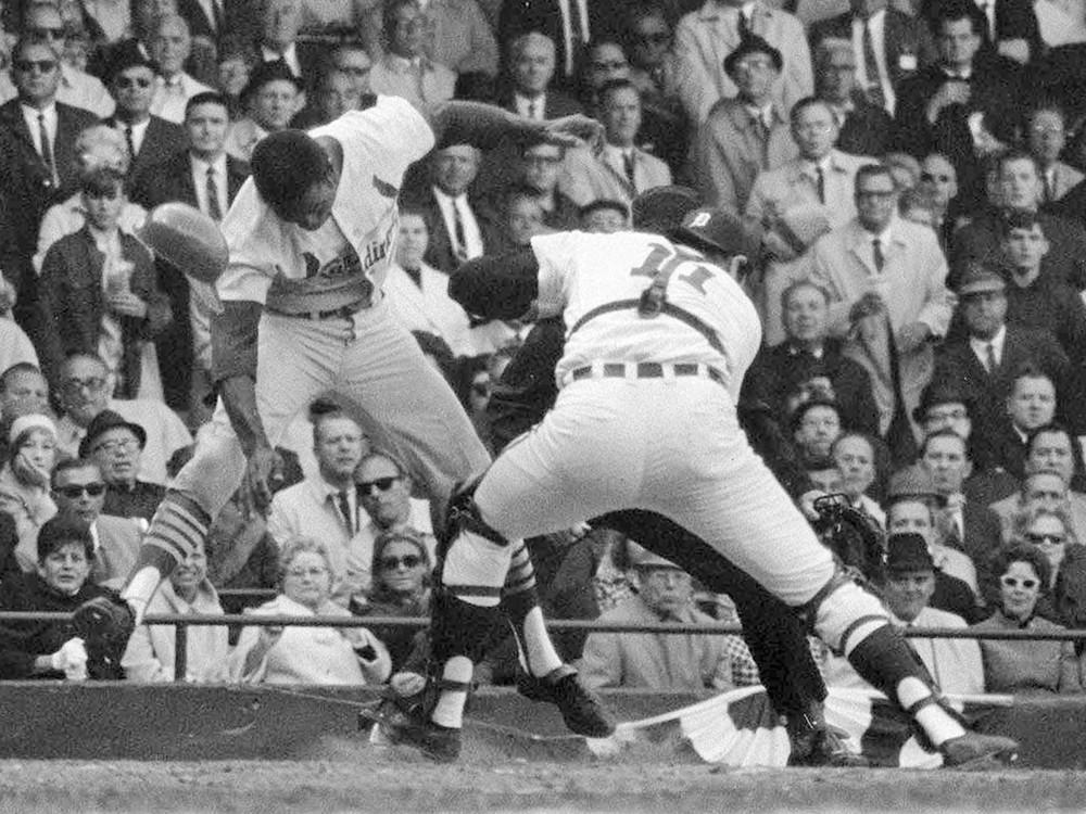 The St. Louis Cardinals' Lou Brock is tagged out by Detroit Tigers catcher Bill Freehan in Game 5 of the 1968 World Series.