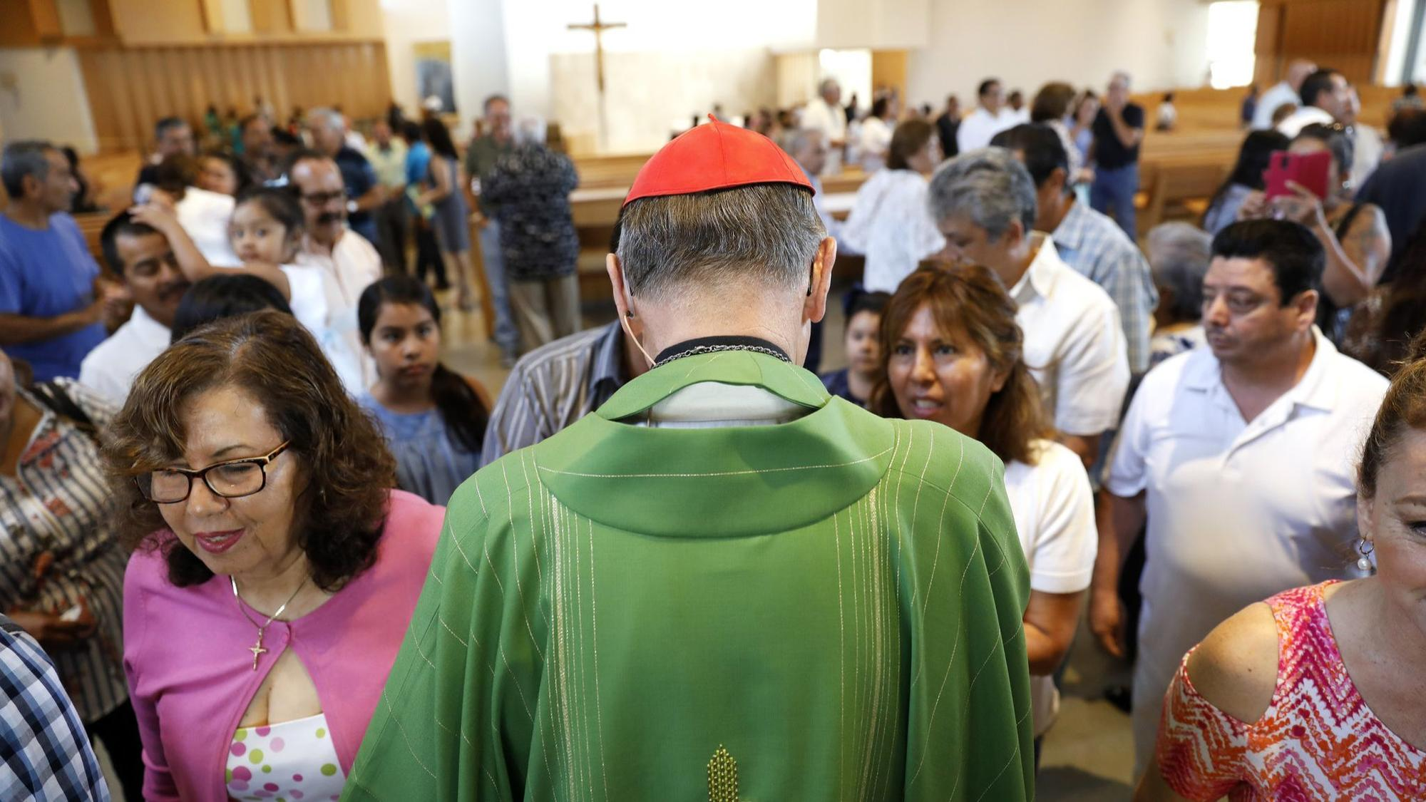 HACIENDA HEIGHTS-CA-JULY 8, 2018: Cardinal Mahony greets parishioners after leading mass in Spanish