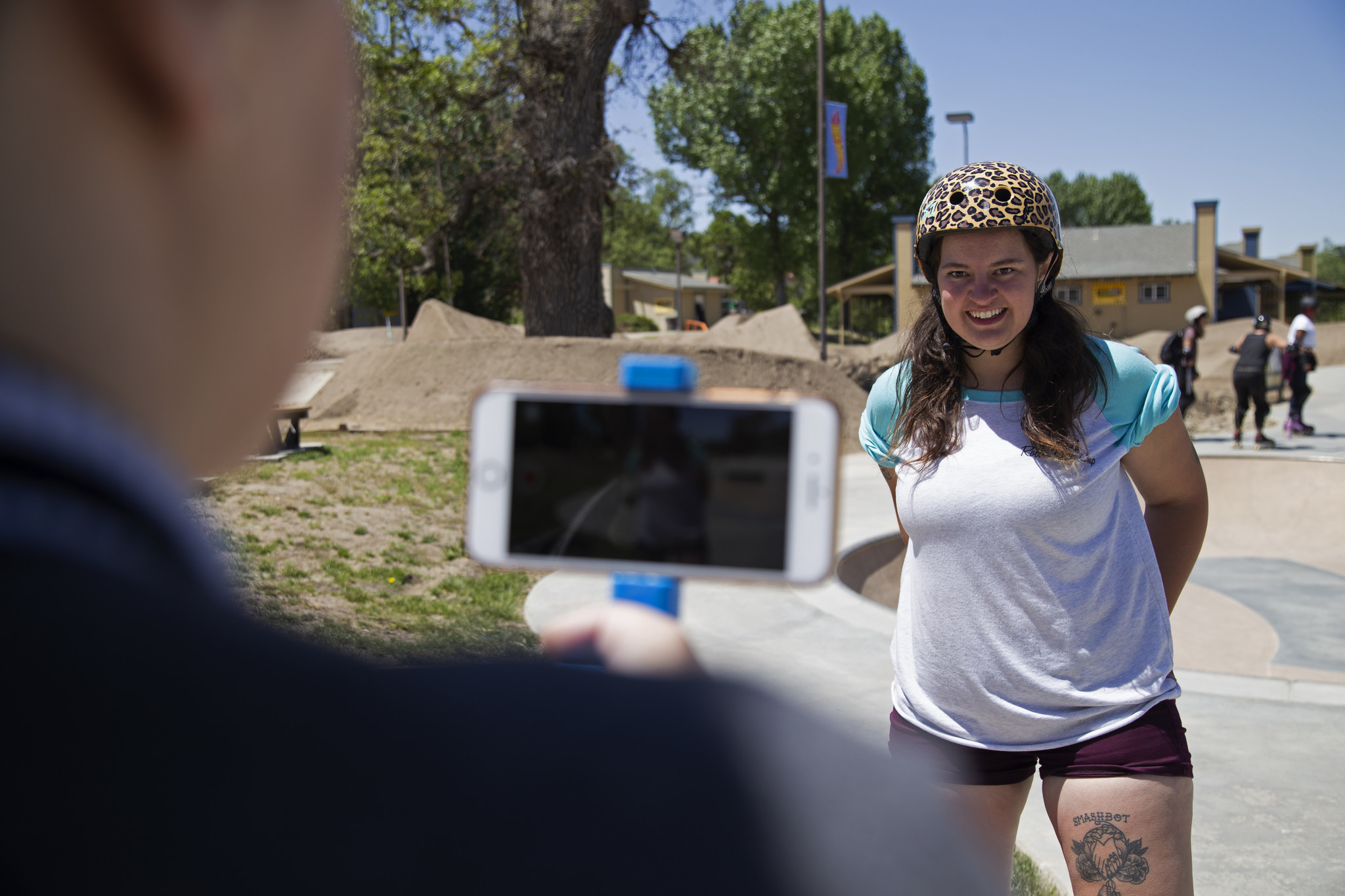 "Tehachapi, CA-May 13, 2018 Amy West (Indy Jamma Jones) interviews Ashley Earp, 24, or ""Smashley"" for her YouTube channel ""Planet Roller Skate"" at Camp Woodward."