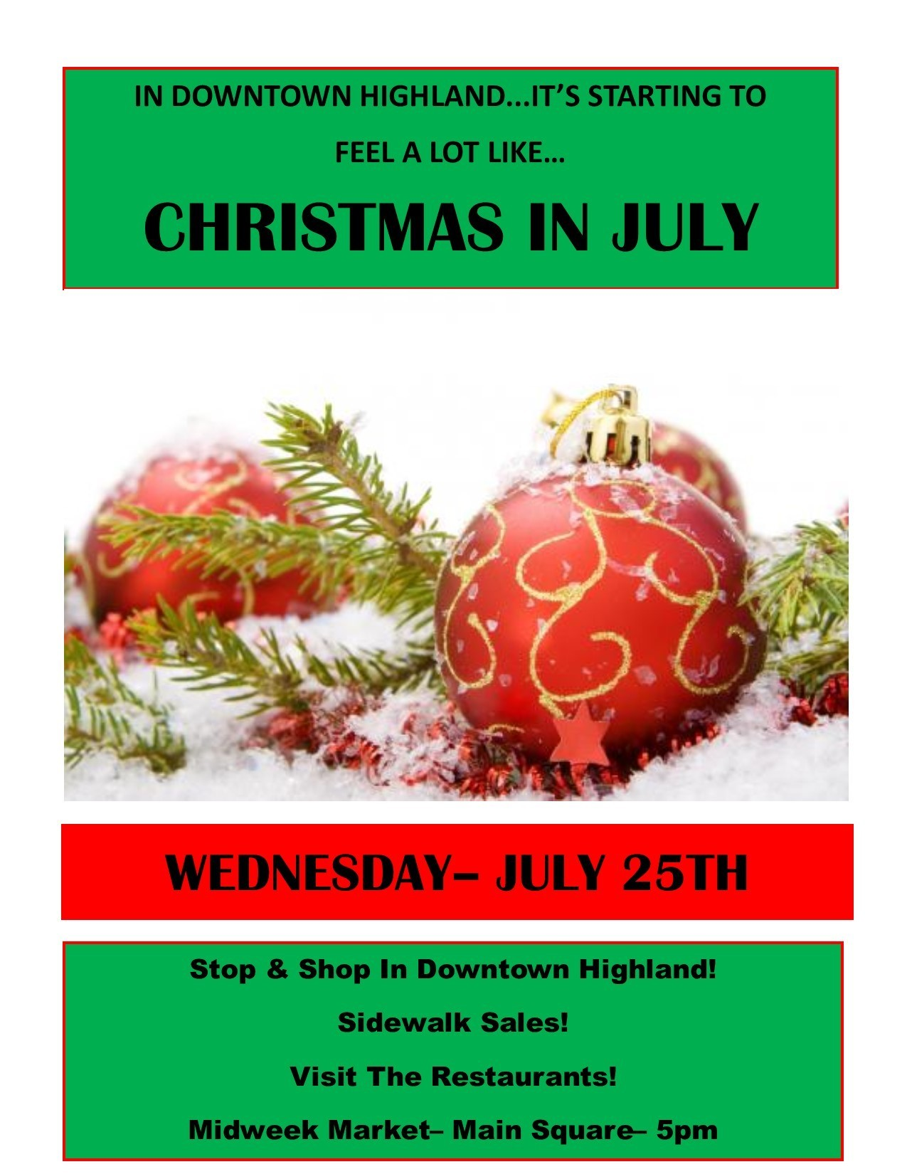 downtown highland to celebrate christmas in july on july 25th post tribune - Why Is Christmas On The 25th