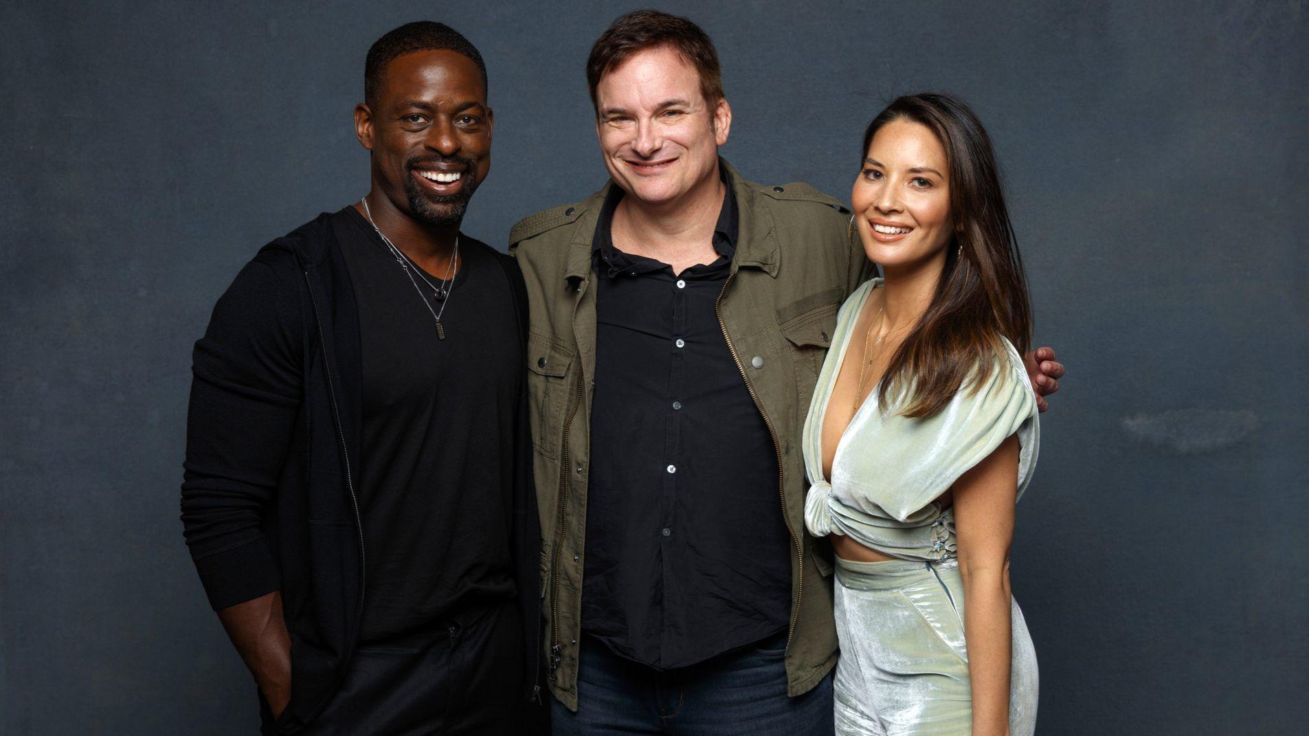Sterling K. Brown, Shane Black and Olivia Munn